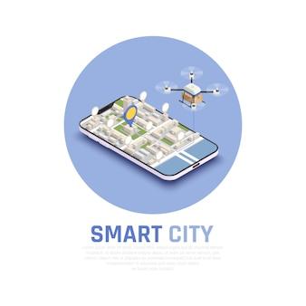 Composición isométrica de la ciudad inteligente de color con mapa 3d y drone abstracto en la ilustración de vector de teléfono