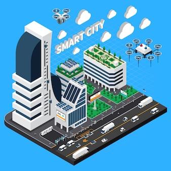 Composición isométrica de ciudad inteligente con ilustración de símbolos de transporte y edificios
