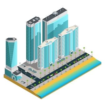 Composición isométrica de la ciudad con modernos rascacielos y muchas casas de varios pisos en la costa del mar