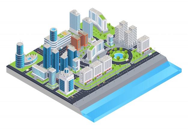 Composición isométrica de la ciudad