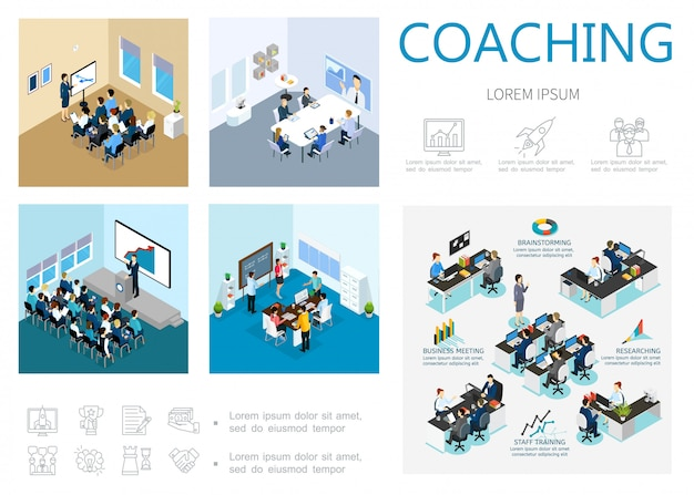 Composición isométrica de coaching con capacitación de personal, reunión de negocios, seminario de lluvia de ideas, conferencia en línea, motivación e iconos de desarrollo