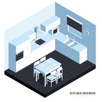 Composición isométrica de la cocina con vista cúbica de la habitación con muebles limpios, máquinas de cocina, fregadero y mesa