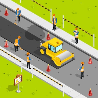 Composición isométrica de colocación de asfalto