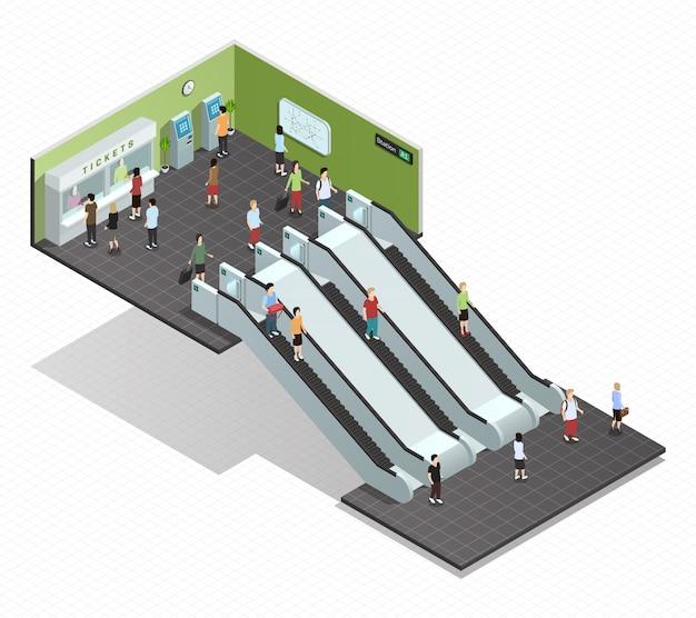 Composición isométrica en color que representa la entrada del metro escaleras mecánicas subterráneas