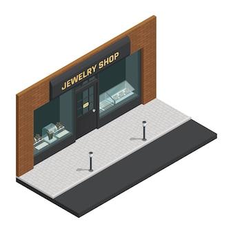 La composición isométrica coloreada elegante aislada de la tienda de la joyería con escaparate y la tienda firman el ejemplo del vector