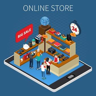 Composición isométrica de comercio electrónico de compras móviles con evento de gran venta de tienda en línea en la pantalla de la tableta