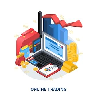 Composición isométrica de comercio en línea