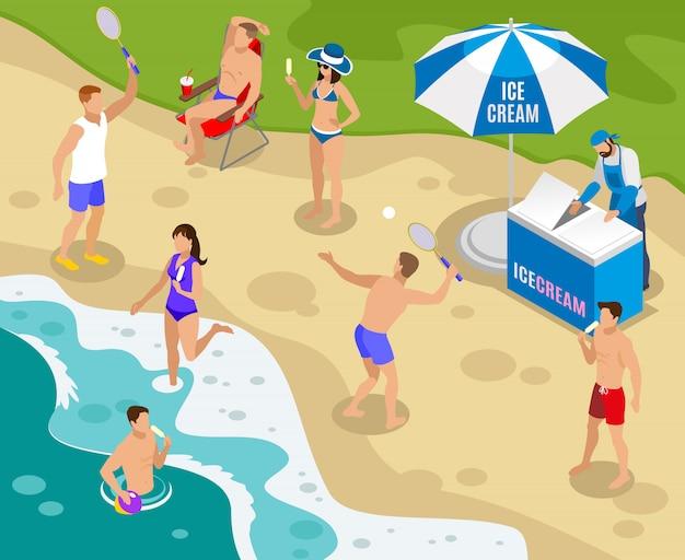 Composición isométrica de comida callejera con comercio de helados en la playa