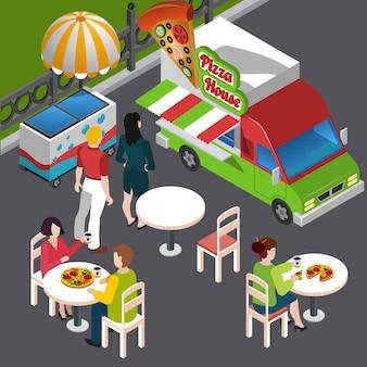 Composición isométrica de comida callejera que incluye clientes en vehículos de mesas al aire libre con ilustración de vector de pizza de señalización