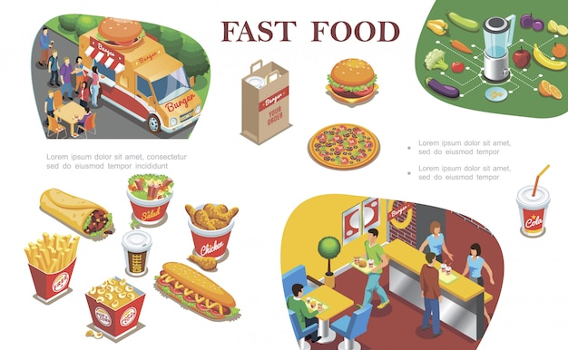 Composición isométrica de comida rápida con comida callejera restaurante de comida rápida frutas verduras hot dog papas fritas café cola pizza hamburguesa