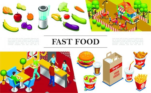 Composición isométrica de comida rápida con personas que comen en el restaurante de comida rápida hamburguesa muslos de pollo papas fritas ensalada cola café frutas verduras camión de comida