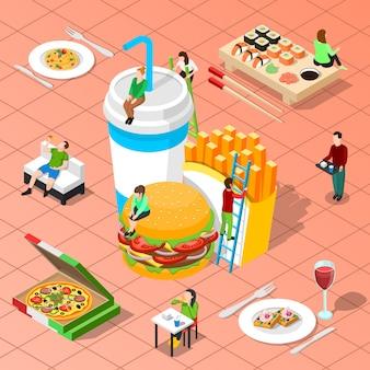 Composición isométrica de comida rápida