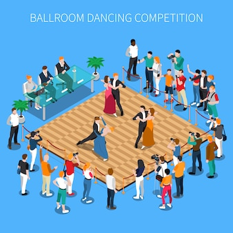 Composición isométrica de la competencia de baile de salón