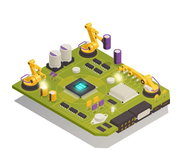Composición isométrica de componentes electrónicos de semiconductores