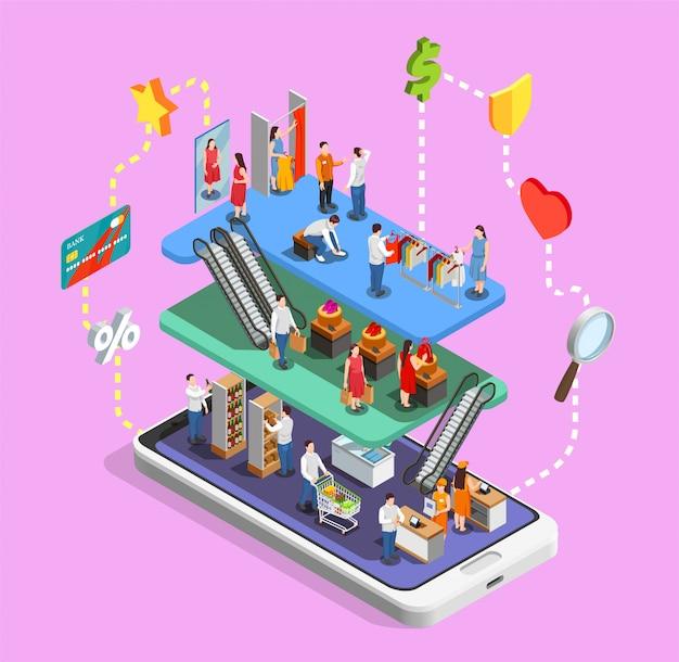 Composición isométrica de compras en línea con centro comercial en un teléfono inteligente