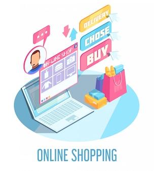 Composición isométrica de compras en línea