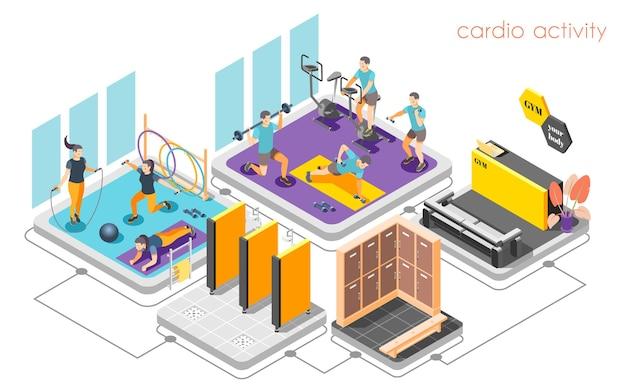 Composición isométrica del concepto de centro de fitness con mostrador de recepción, actividad cardiovascular, entrenamiento de fuerza, ducha, vestuario