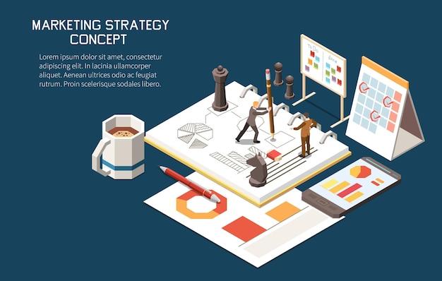 Composición isométrica del concepto de estrategia de marketing con texto editable y pequeños personajes humanos con planes y calendarios