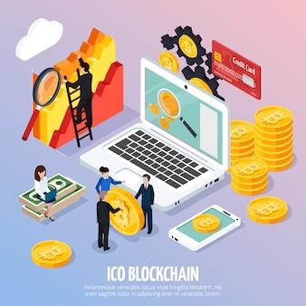 Composición isométrica del concepto ico blockchain
