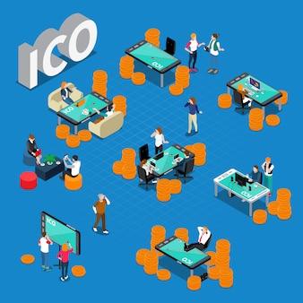 Composición isométrica del concepto ico