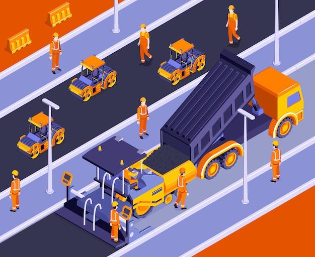Composición isométrica de construcción de carreteras con paisaje al aire libre y maquinaria vial con personajes de constructores en uniforme