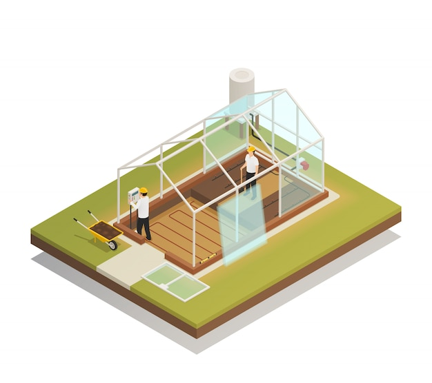 Composición isométrica de construcción de instalaciones de invernadero