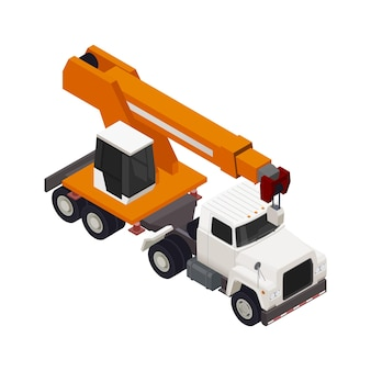 Composición isométrica de construcción de marco modular con camión de construcción con grúa