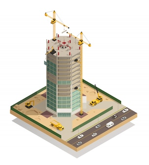 Composición isométrica de construcción de rascacielos