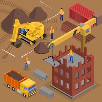 Composición isométrica de construcción con trabajadores de maquinaria de construcción y grúas cerca del bloque de gran altura en construcción
