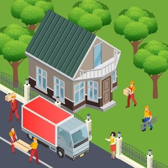Composición isométrica de construcción con vista exterior de la casa y camión de reparto con materiales de decoración del hogar