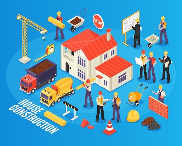 Composición isométrica de construcción de viviendas