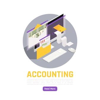 Composición isométrica contable con aviso de impuestos, billetes en dólares, tarjetas bancarias y elementos de cheques pagados