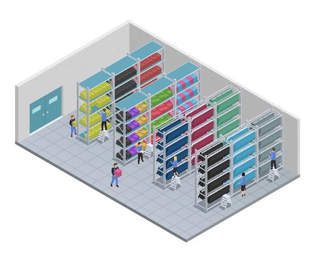 Composición isométrica de costura de ropa de color con personas que trabajan en una ilustración vectorial de fábrica