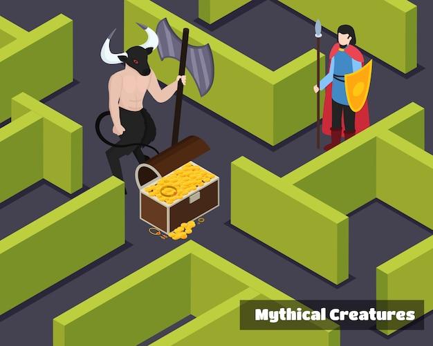 Composición isométrica de criaturas míticas