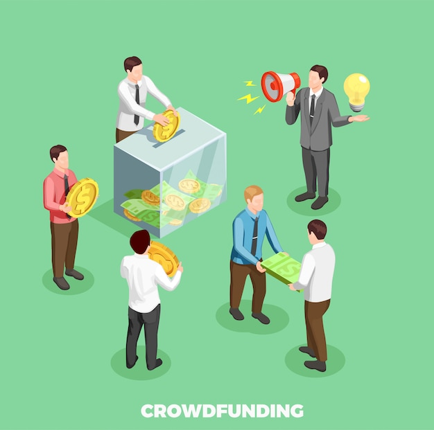 Composición isométrica de crowdfunding