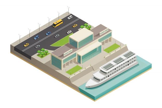 Composición isométrica del crucero del puerto fluvial