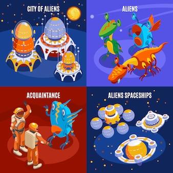 Composición isométrica de cuatro extraterrestres con ilustración de descripciones de naves espaciales conocidas de la ciudad de extraterrestres