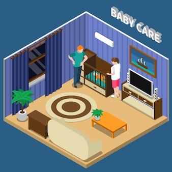 Composición isométrica del cuidado del bebé