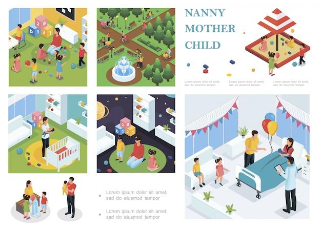 Composición isométrica para el cuidado de los niños con niñera caminando y jugando con los niños la niñera pone al bebé a dormir padre felicita a la madre con el parto