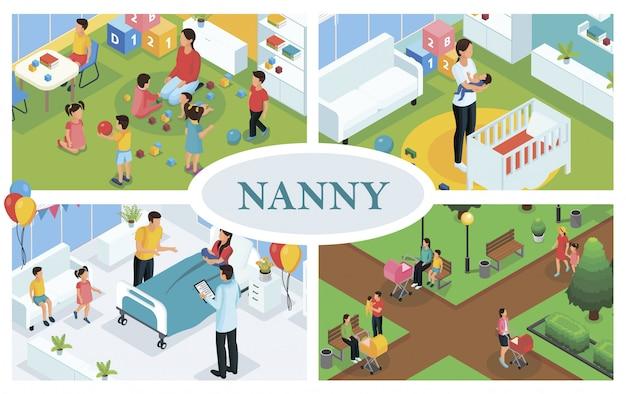 Composición isométrica para el cuidado de los niños con niñera jugando y caminando con niños la niñera pone al bebé a dormir y el padre felicita a la madre por el parto