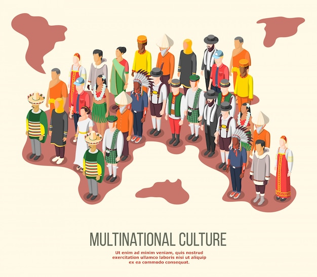 Composición isométrica de cultura multinacional