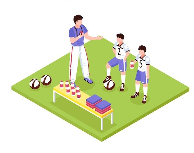 Composición isométrica de deporte para niños
