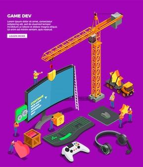 Composición isométrica de desarrollo de juegos con joystick de teclado de pantalla grande para auriculares y grúas de videojuegos como símbolo de la industria del juego