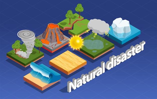 Composición isométrica de desastres naturales