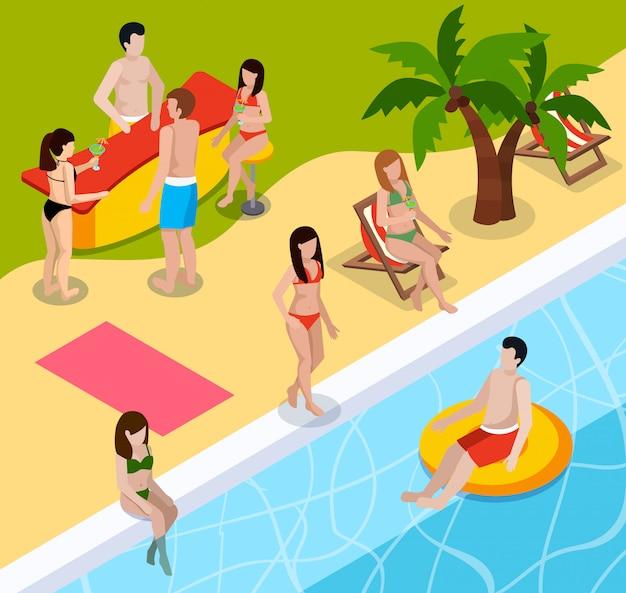 Composición isométrica de descanso de piscina