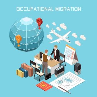 Composición isométrica del desplazamiento de la migración de la movilidad de la población