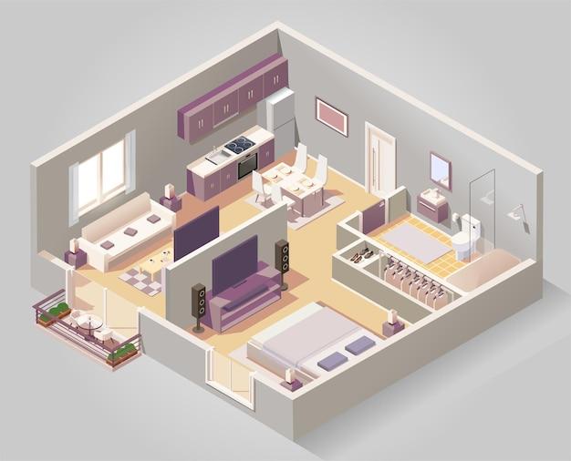 Composición isométrica de diferentes habitaciones de la casa.