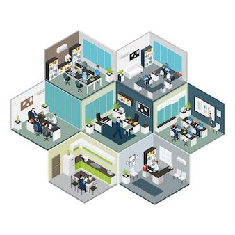 Composición isométrica de diferentes pisos de oficina