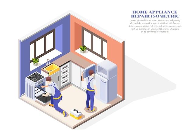 Composición isométrica con dos manitas que reparan electrodomésticos en la cocina 3d