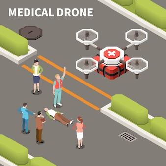 Composición isométrica de drones quadrocopters con texto y personas esperando aviones de ambulancia cargados con botiquín